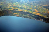Aerial view of the earth from the airplane — Stock Photo