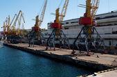 Námořní kontejner skladu a jeřáb — Stock fotografie