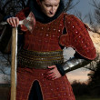 Portrait of a Knight in the blood - Stock Photo