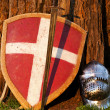 Photo of the shield, sword and the helmet — Stock Photo