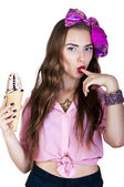 Young beautiful woman with ice cream — Stock Photo