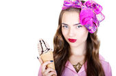 Young beautiful woman with ice cream — Fotografia Stock