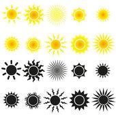 Set van zon vectoren in geel en zwart — Stockvector