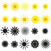 Uppsättning av solen vektorer i gult och svart — Stockvektor