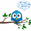 Blue bird sitting on twig, singing - Stock Vector