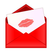 Open red envelope with lipstick kiss on letter — Stockvector