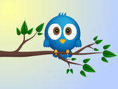 Blue bird sitting on twig — Stock Vector