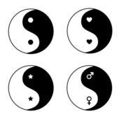 Set of ying yang symbols — Stock Vector