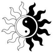 Ying yang symbol in sun — Stock Vector
