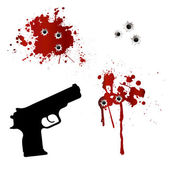 Gun with bullet holes and blood — Stock Vector