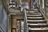 Staircase in abandoned house, hdr photo — Stock Photo