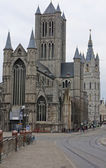 St nicolas church and belfry in historic center of Ghent — Stock Photo