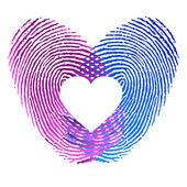 отпечатки пальцев мужчина и женщина в любви — Cтоковый вектор
