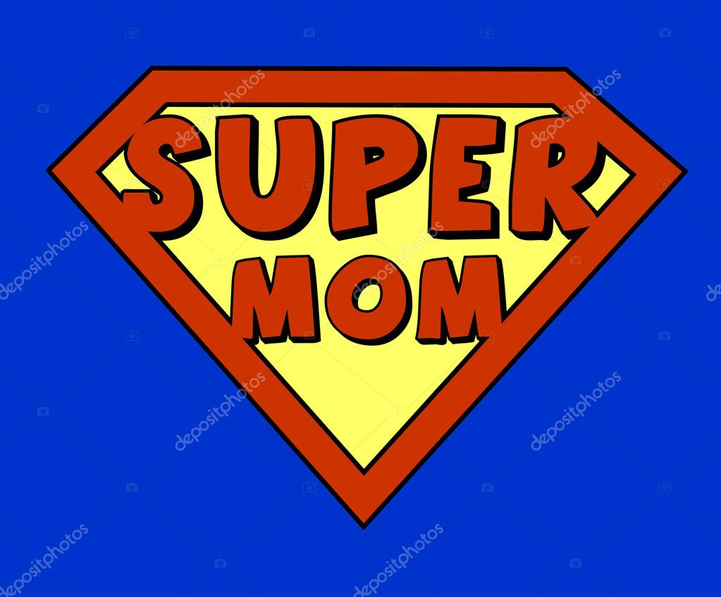 Super Mom Logo Funny super mom shield - stock