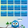 2014 calendar with funny blue bird — Stock Vector