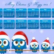 2014 calendar with funny blue birds family — Stock Vector #29129593