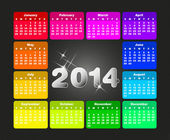 Colorful calendar for 2014. Week starts on sunday — Stock Vector