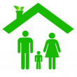 Family in ecologic house — Stock Vector