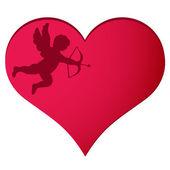 Cupid in heart background — Stockvektor