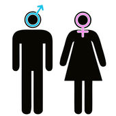 Male and female signs in pictogram — Stock Vector