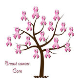Breast cancer awareness tree — Stock Vector