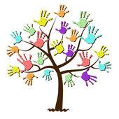 Children's hand prints united in tree — Stock Vector