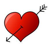 Hand drawn heart with arrow — Stock vektor