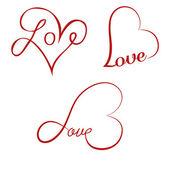 Liefde kalligrafie harten — Stockvector