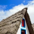 Reconstruction of a roof of thatch of a typical house of Madeira - 图库照片