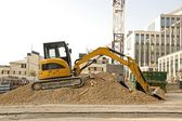 Excavator on a construction site — Stok fotoğraf