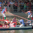 Water jousting, Parisian joust, quay of the Seine, Paris (France) on 09/09/2012 — Stock Photo