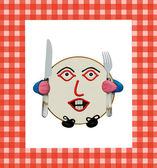 Plate on a tablecloth, character very very hungry — Stock Photo