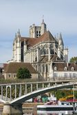 Cathedral of Auxerre seen by a bank of the river Yonne (Burgundy France) — Stock Photo