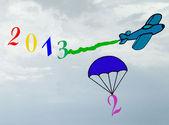 Capodanno 2013, paracadutismo del numero 2 dell'anno 2012 — Foto Stock
