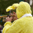 Stock Photo: Rabbit trumpeter, animation for Easter
