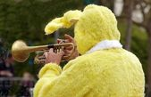 Rabbit trumpeter, animation for Easter — Stock Photo