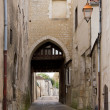 Old typical alley of the town of Auxerre (Burgundy France) - Stock Photo