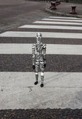 The zebra man on crosswalk — Foto de Stock