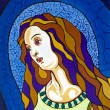 Stock Photo: Virgin in stained-glass window, free portrait interpretation