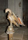 Eagle lectern, the door-Bible of church — Stock Photo