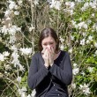 Hay fever, allergic rhinitis, at the beginning of the spring — Stock Photo