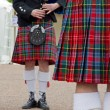 Kilt, tartan, Scottish musicians — Stock Photo