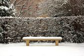 Bench covered with snow in winter, in a public garden (France Europe) — Stock Photo