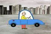 Antipollution car, in front of ecological problems  the good old system of the walking ! — Stock Photo
