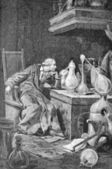 Scientist in his laboratory, former engraving of the nineteenth century — Stock Photo