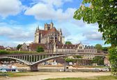 Cathedral st Etienne, abbey st German, (Auxerre Bourgogne France) — Stock Photo