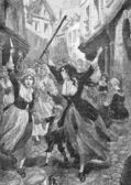 The revolt of the women, tan old engraving dated one thousand eight hundred ninety ( more than hundred and twenty years of age) — Stock Photo