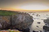 Paesaggio marino con 3 giovani nell'orizzonte - portogallo sines — Foto Stock