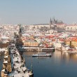 Charles Bridge and Prague Castle at winter — Stock Photo