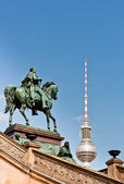 Frederick William IV Statue and Berlin TV Tower Dome — Stock Photo
